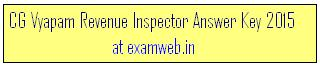 CGVyapam Revenue Inspector Exam Answer Keys 2015