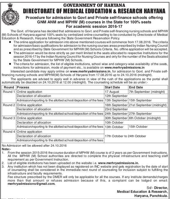Haryana Nursing Admission 2016-17