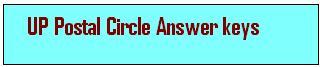 UP Postal Circle MTS Answer Key 2015