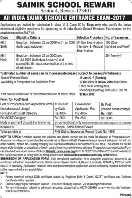 sainik-school-rewari-entrance-exam-notice