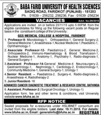BFUHS Recruitment 2015