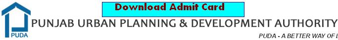 Download PUDA Admit Card