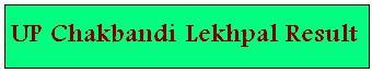 UPSSSC Chakbandi Lekhpal Result