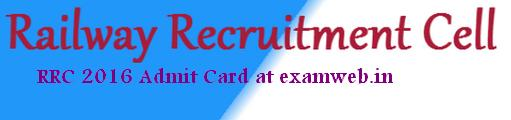 RRC 2016 PWD Admit Card