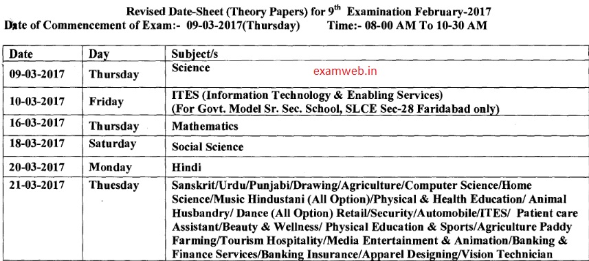 Download HBSE 9th Date Sheet