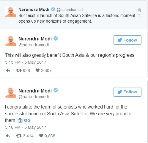 Mod's Tweets after SA Satellite Launch